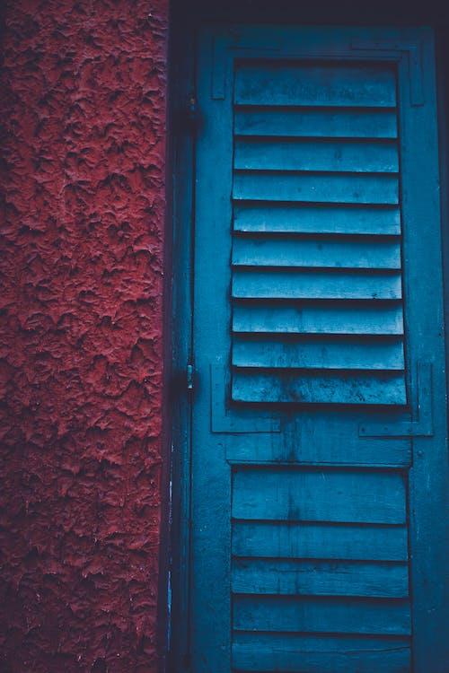 Blue Wooden Louver Window