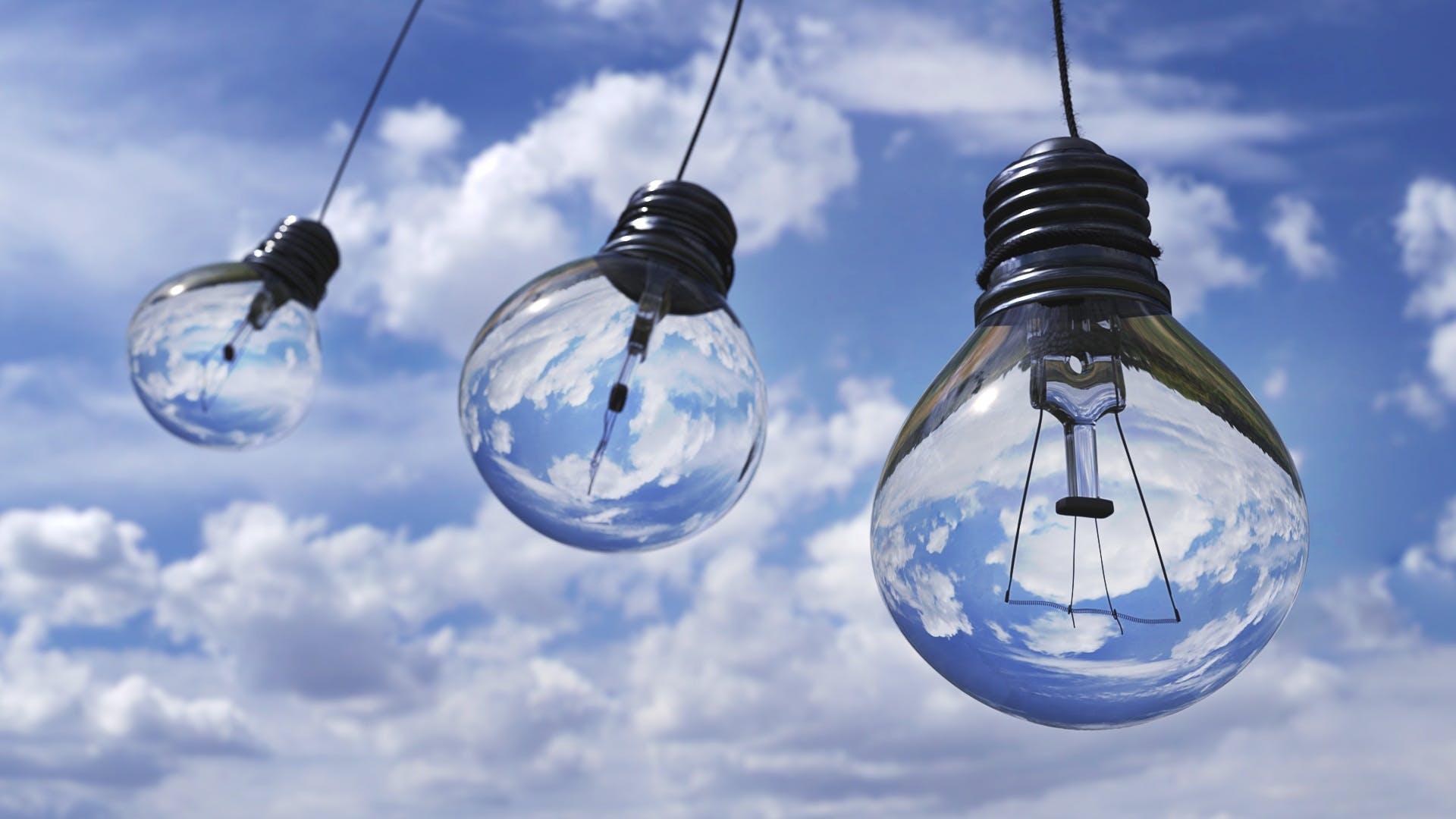 Three Light Bulbs Hung