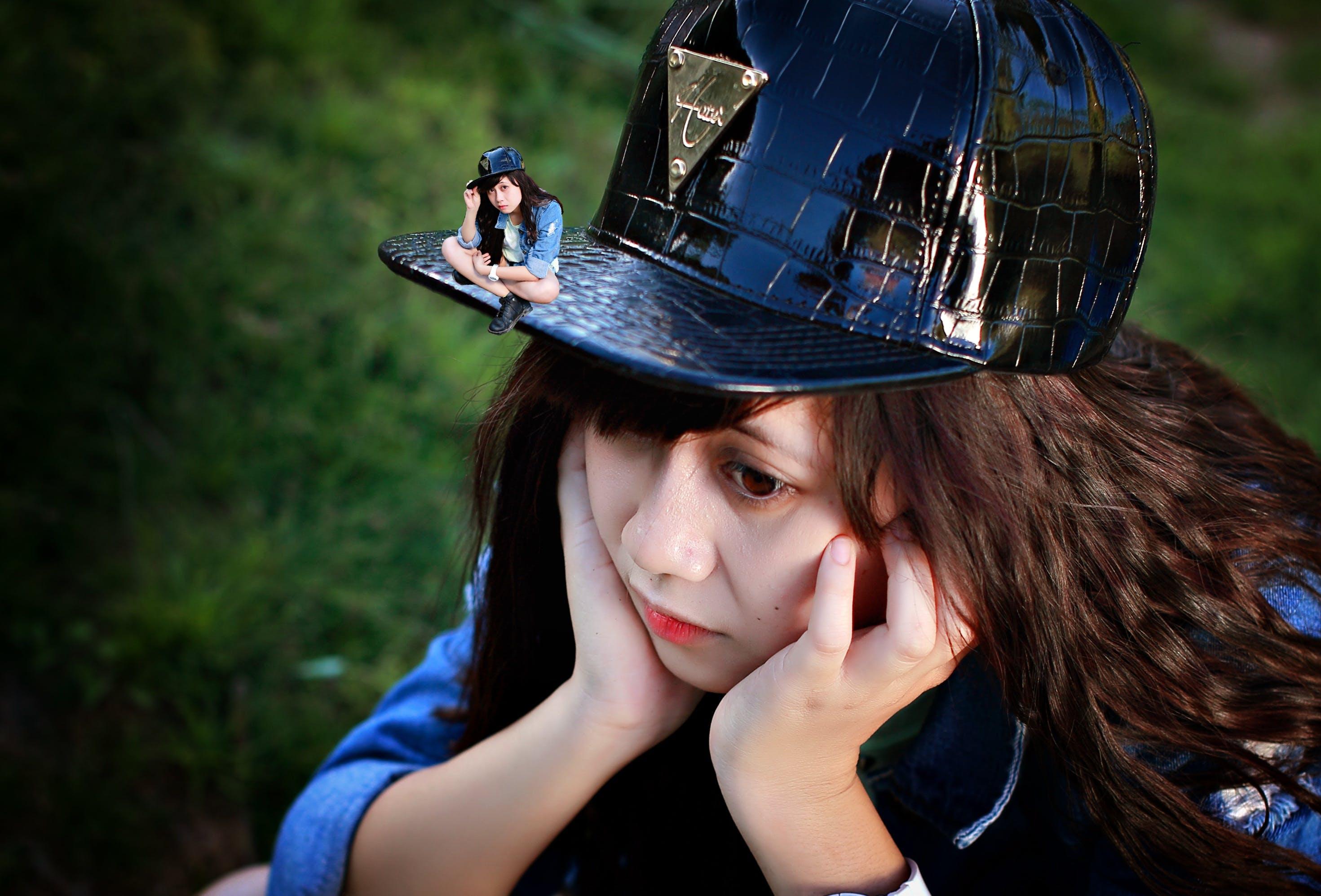 adolescent, black, cap