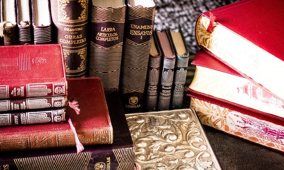 book stack, bookcase, books