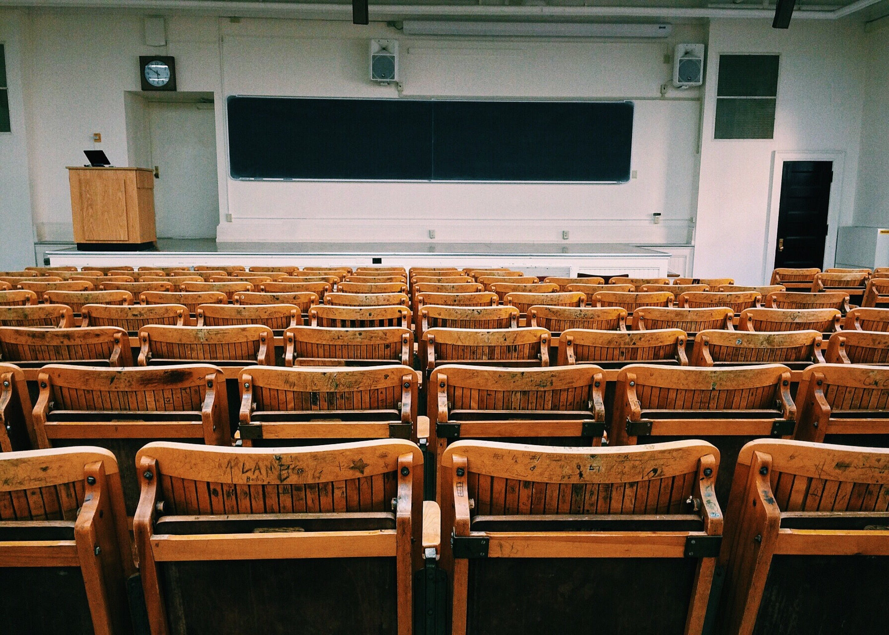 Free stock photo of wood, school, room, row