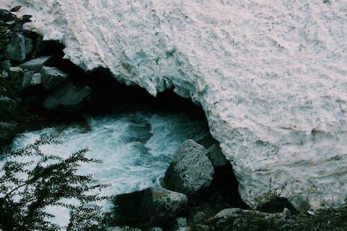Snow Covered Rocks Near Stream