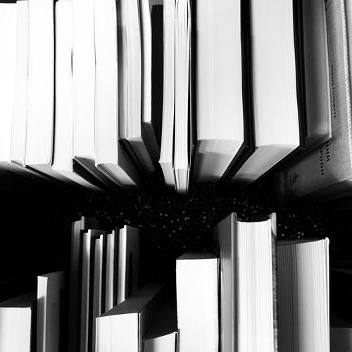 Grayscale Photo of Books