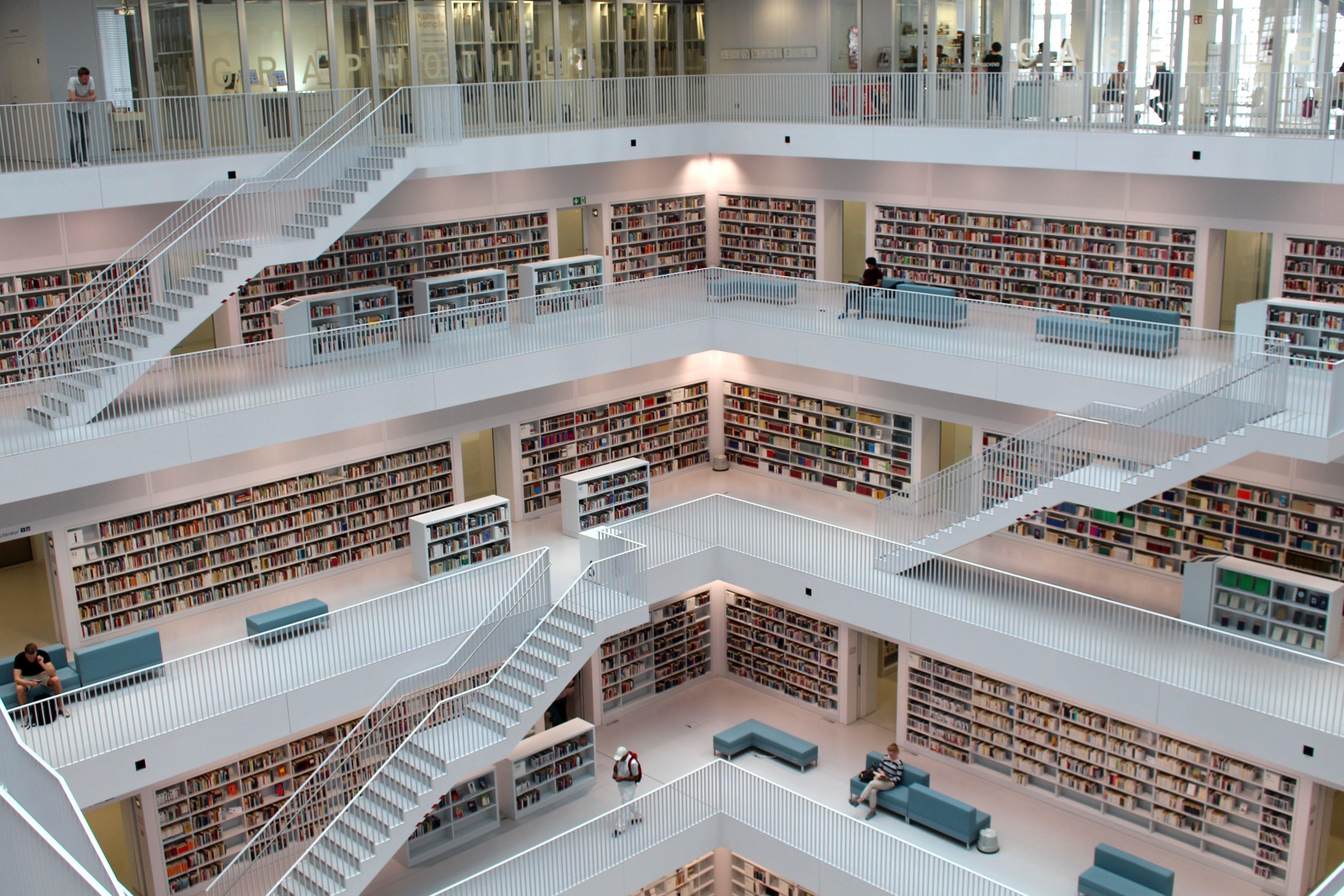 architecture, books, building