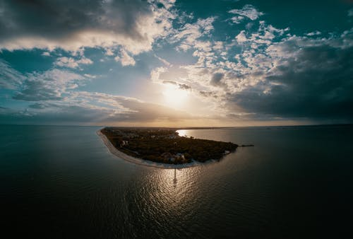 Aerial Photography of Island during Golden Hour
