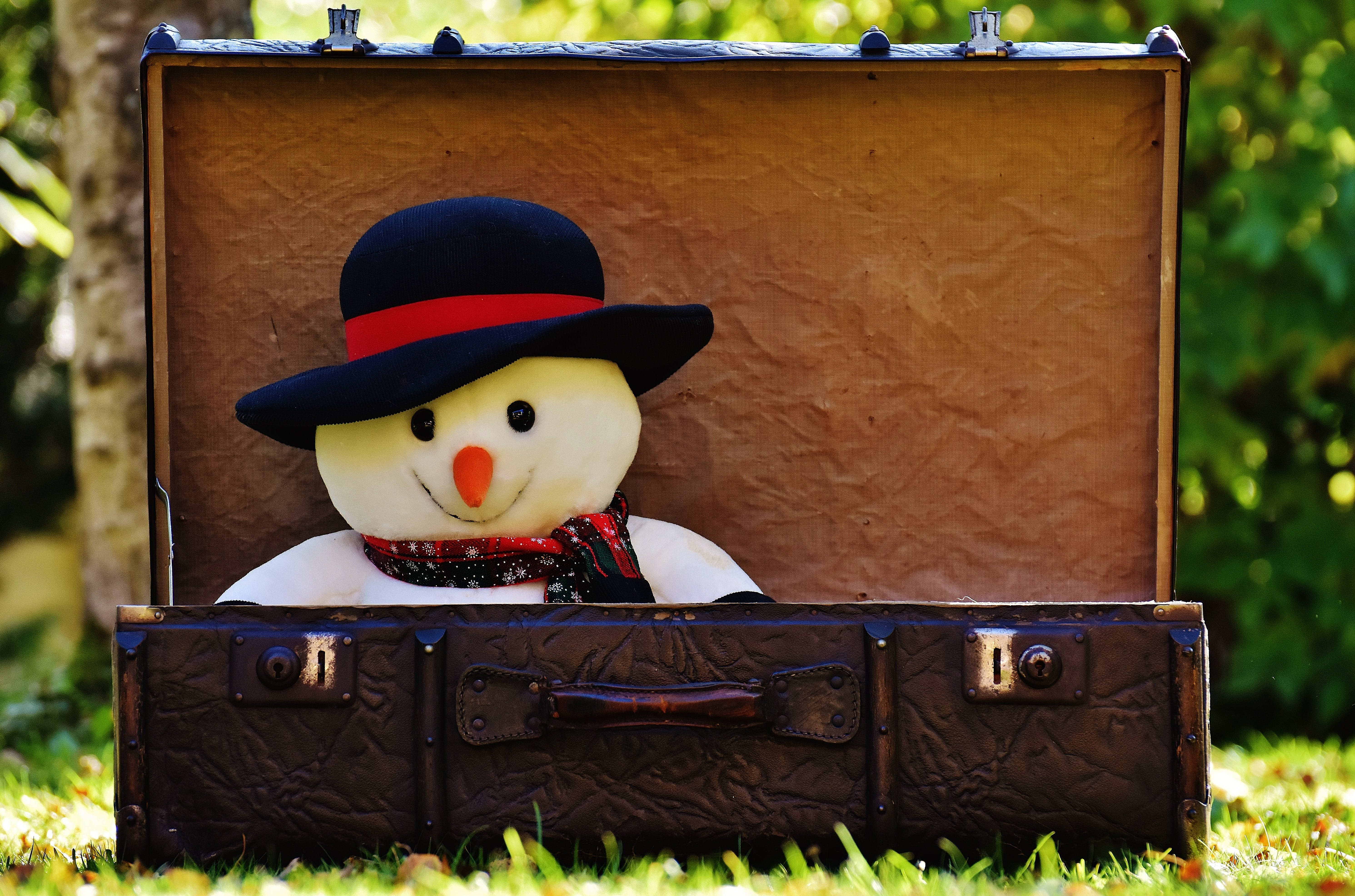 Snowman in Black Hat Doll Inside Chest