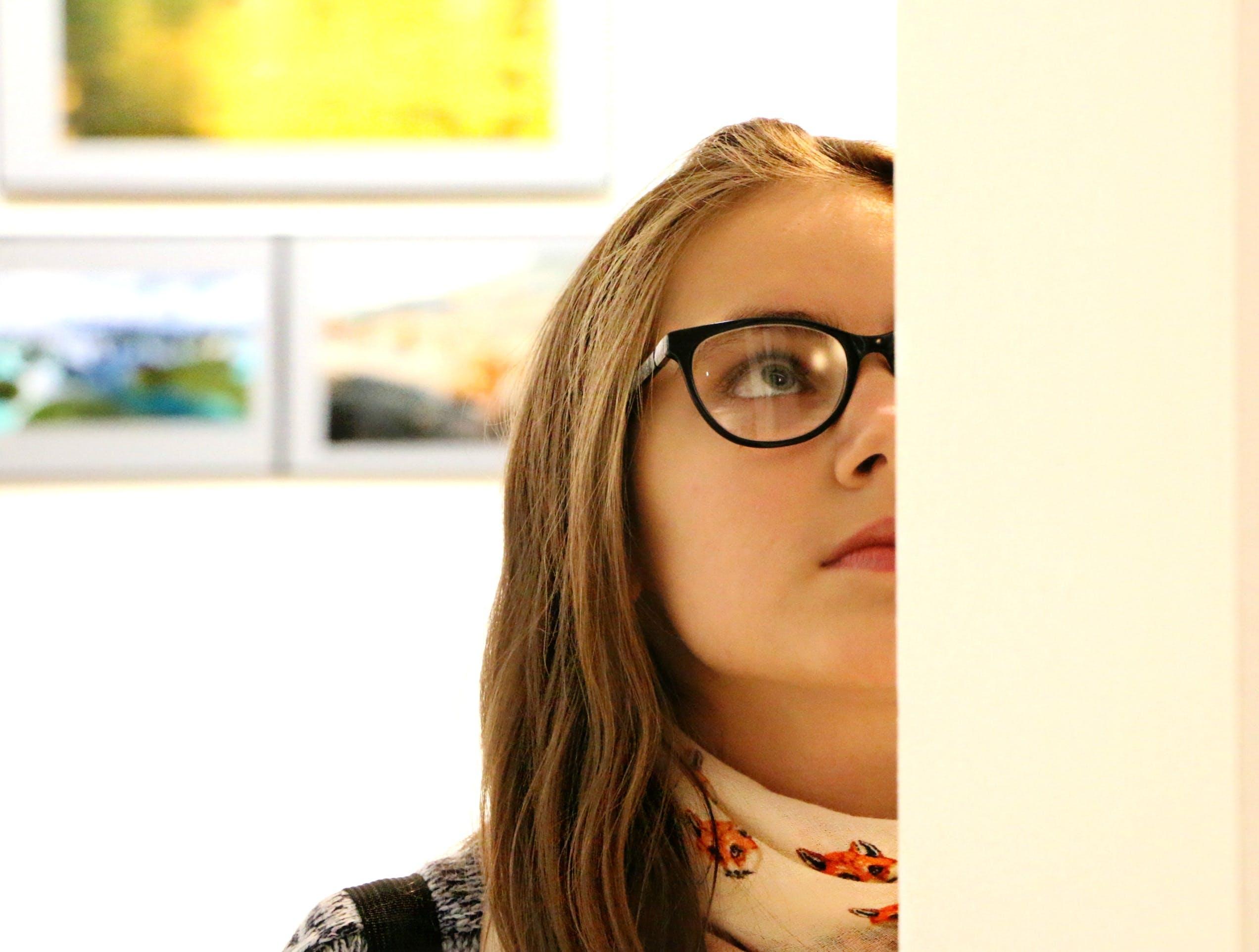 Woman in Black Frame Eyeglass
