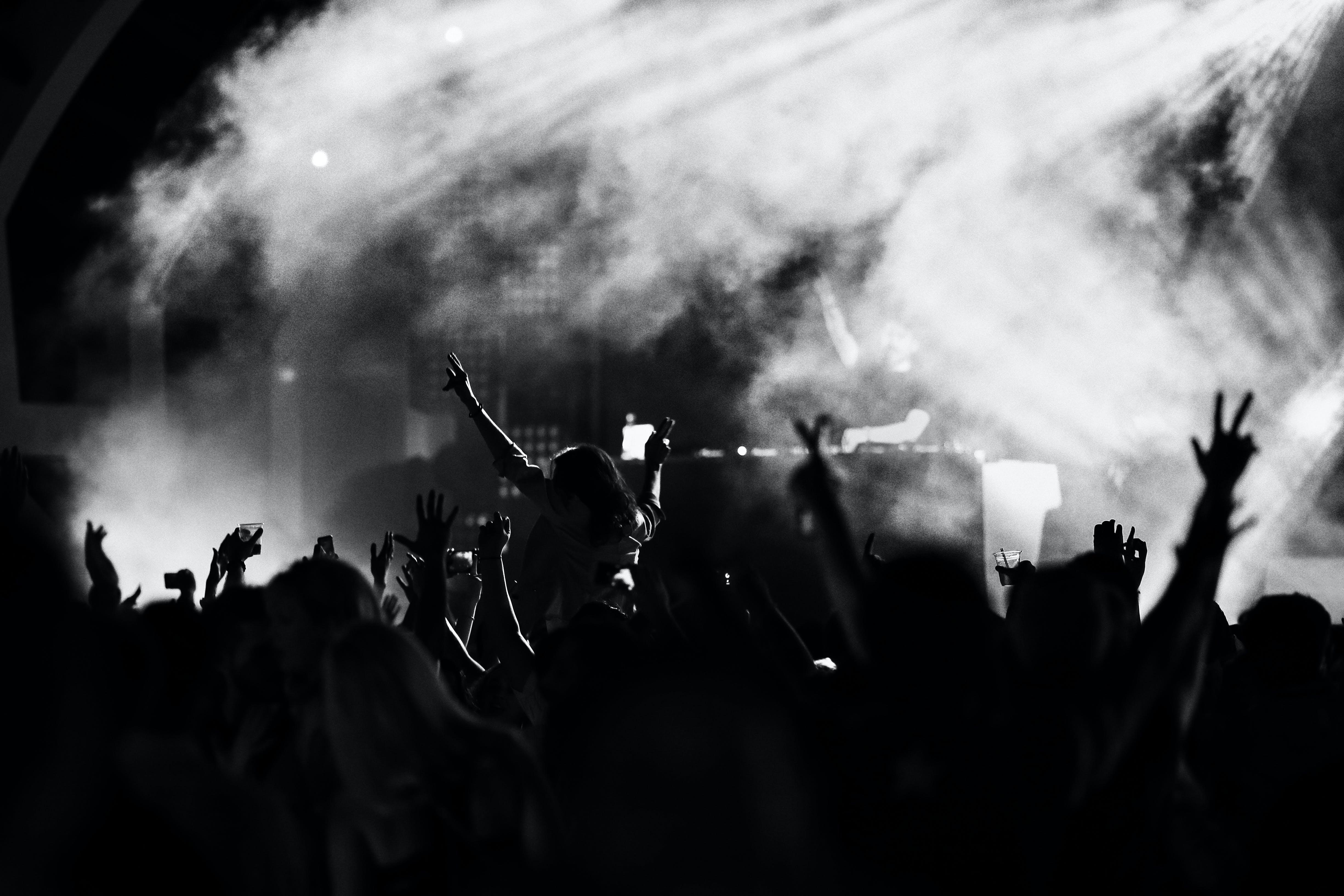 Darmowe zdjęcie z galerii z czarno-biały, klub nocny, koncert, ludzie