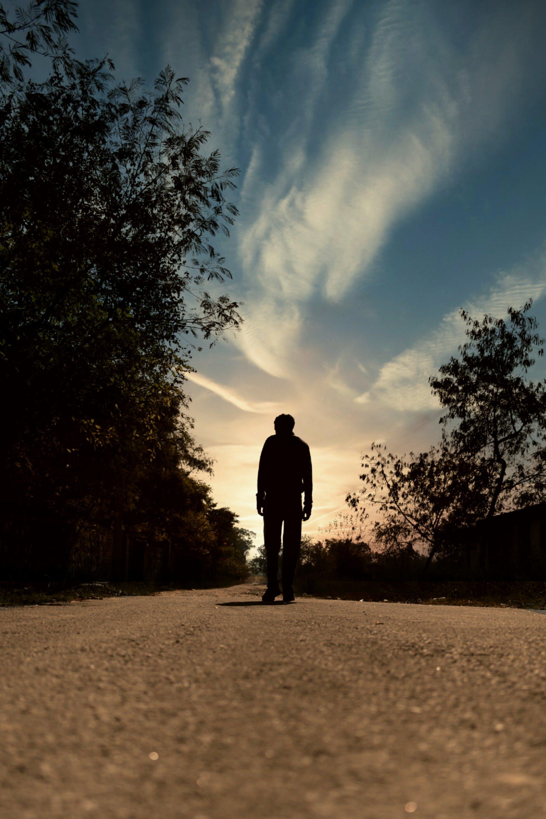 Základová fotografie zdarma na téma muž chůze, západ slunce