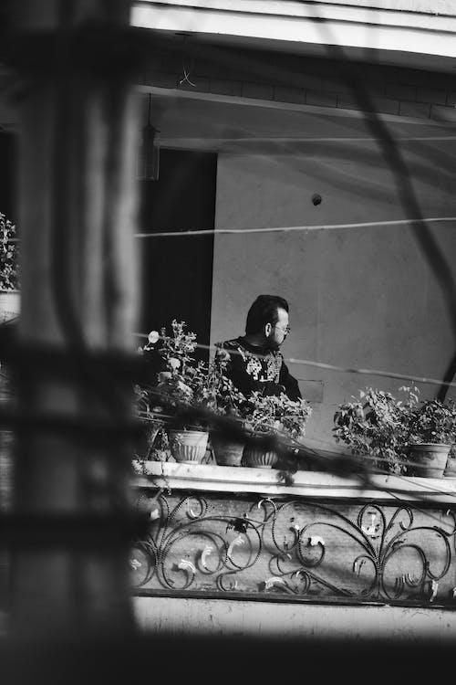 Gratis lagerfoto af balkon, blomst, dagslys, fra siden