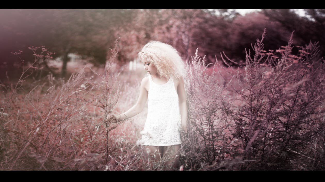 blond, färg, flicka