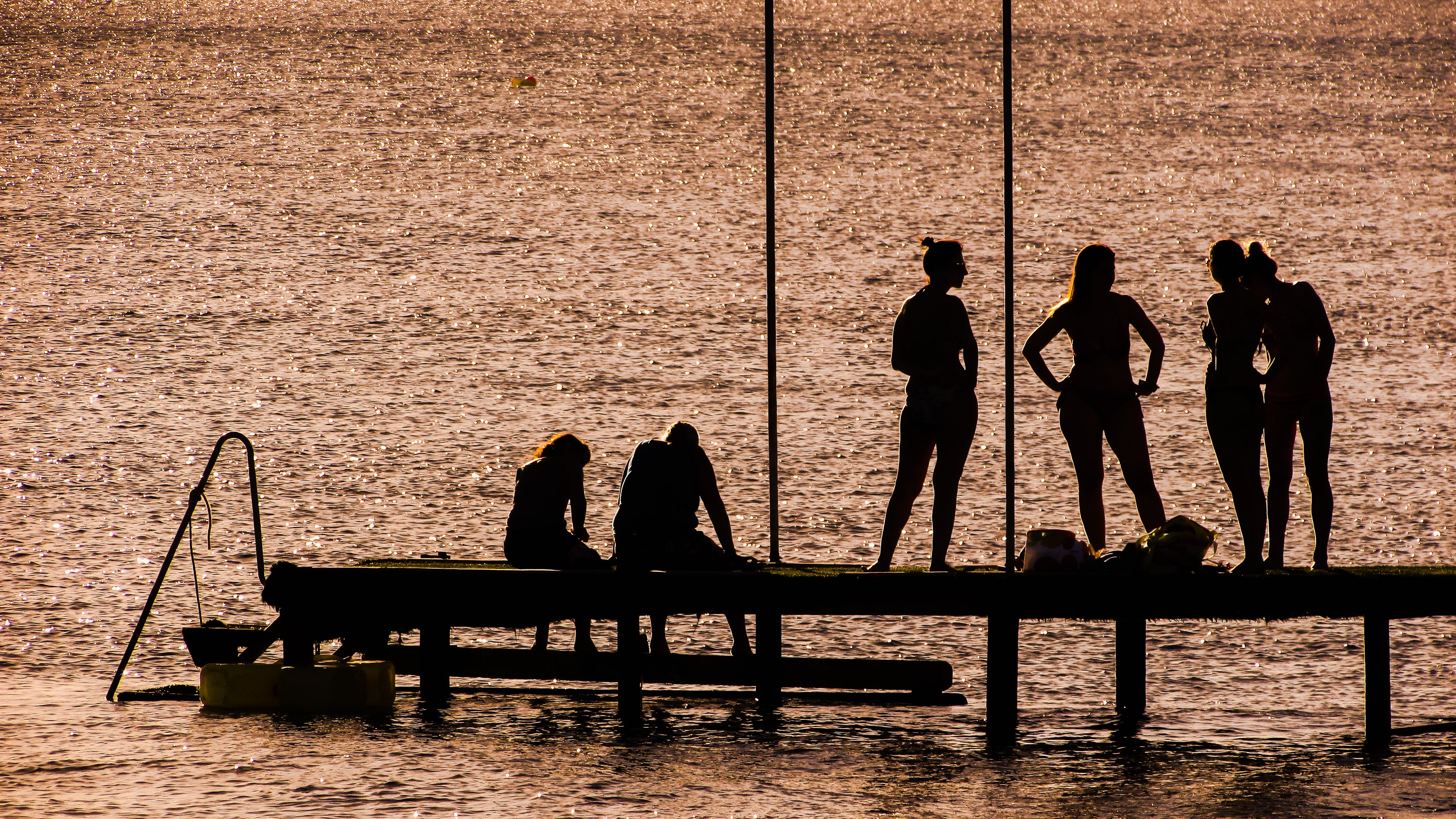 Silhouette of 6 Person on Dock Near the Calm Body of Water