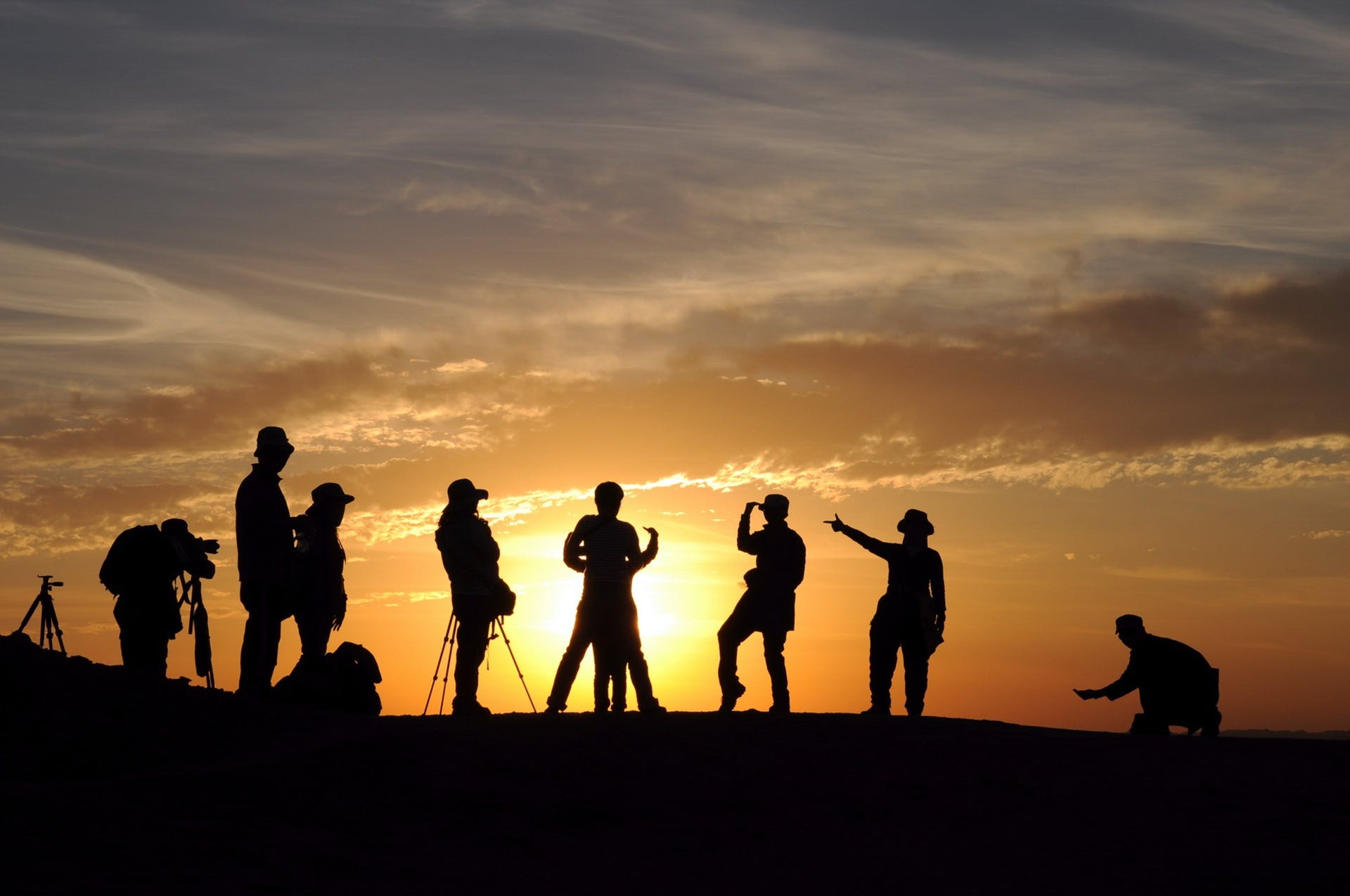 Silhouette Photography of Group of People Standing on Mountain