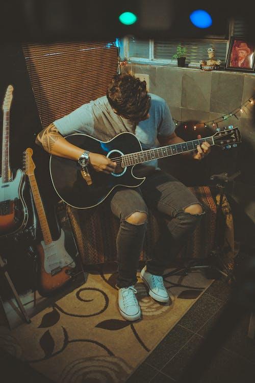 človek, gitara, gitarista