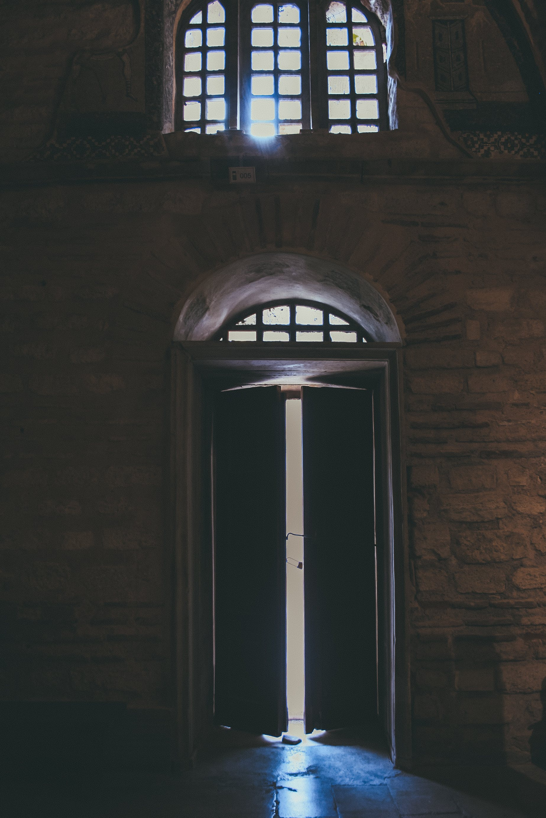 French Doors Slightly Opened