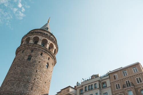 Historical Galata Tower near residential buildings