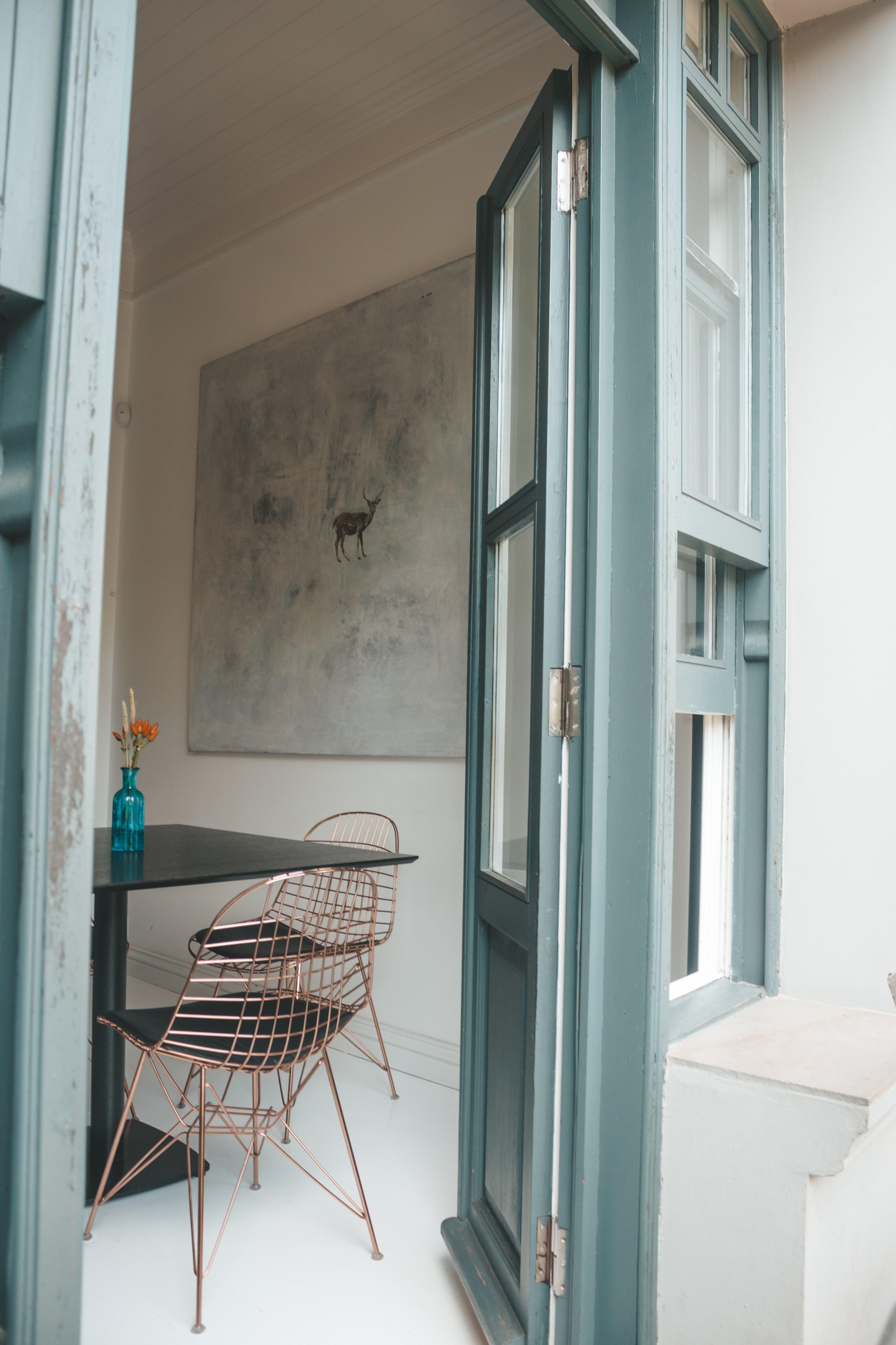 Gray Framed Glass Door