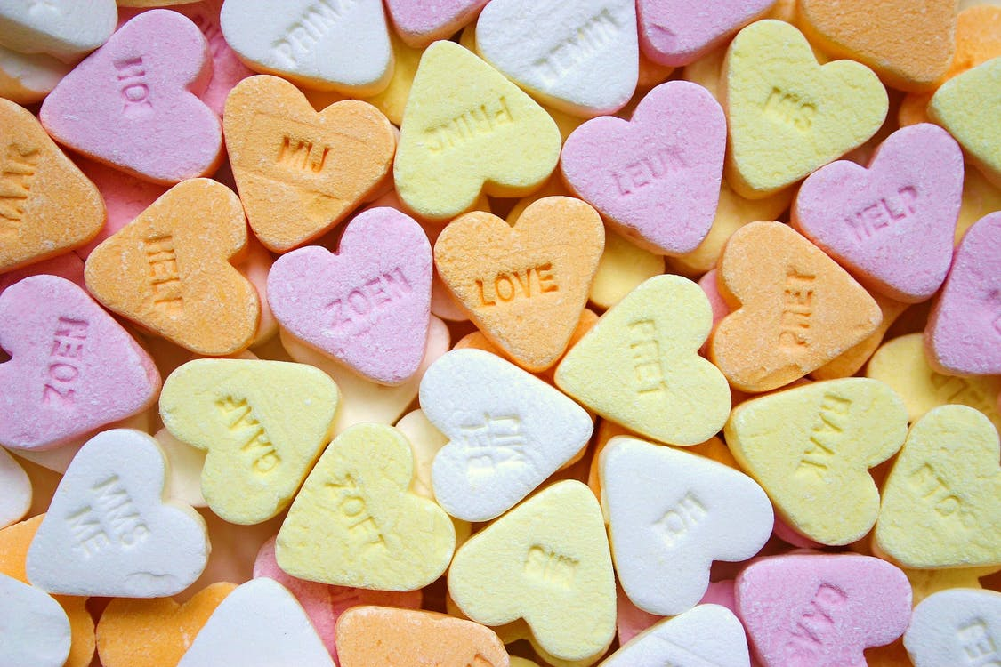Yellow Pink Orange and White Loves Heart Candies