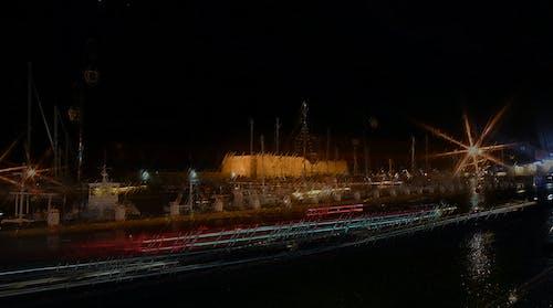Free stock photo of fishing boat, harbour, night, night city