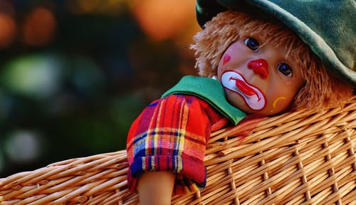 Sad Clown Doll in Basket