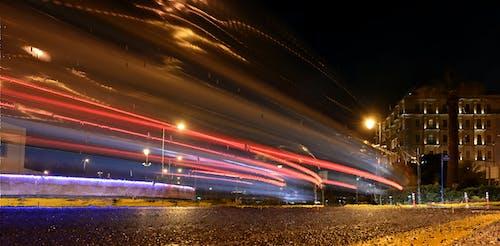 Free stock photo of car lights, light trails, night city, night life