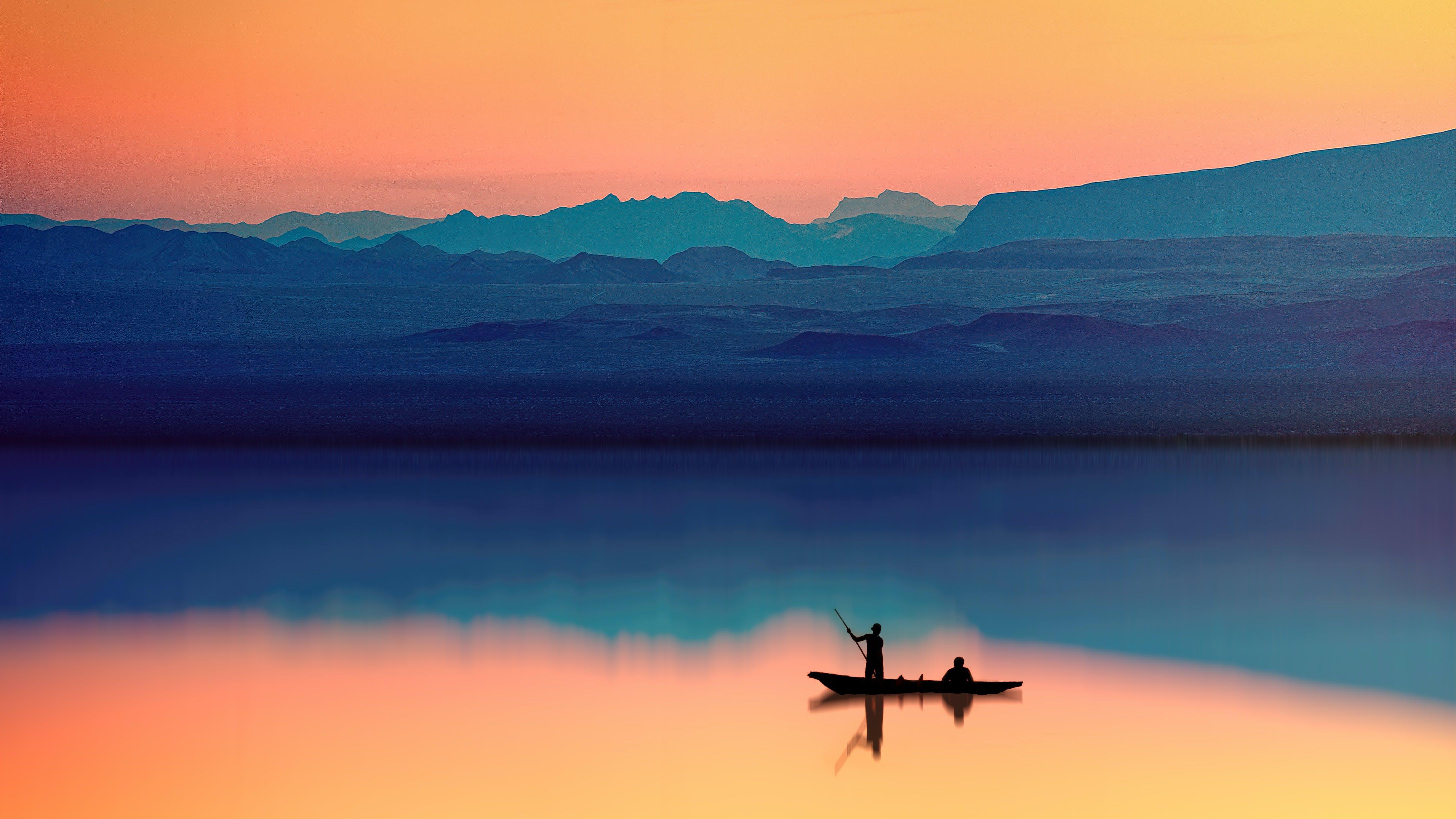 Kostenloses Stock Foto zu abend, angeln, berg, boot