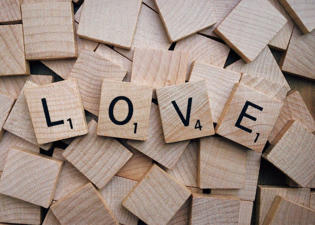Brown Wood Love Text Scrabble Tiles
