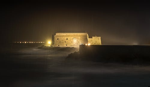 Free stock photo of castle, darkness, harbour, night photography