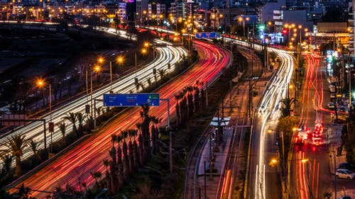 Free stock photo of downtown, light trails, motion, night city