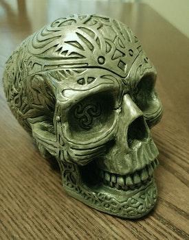 Gray Ceramic Skull Figurine