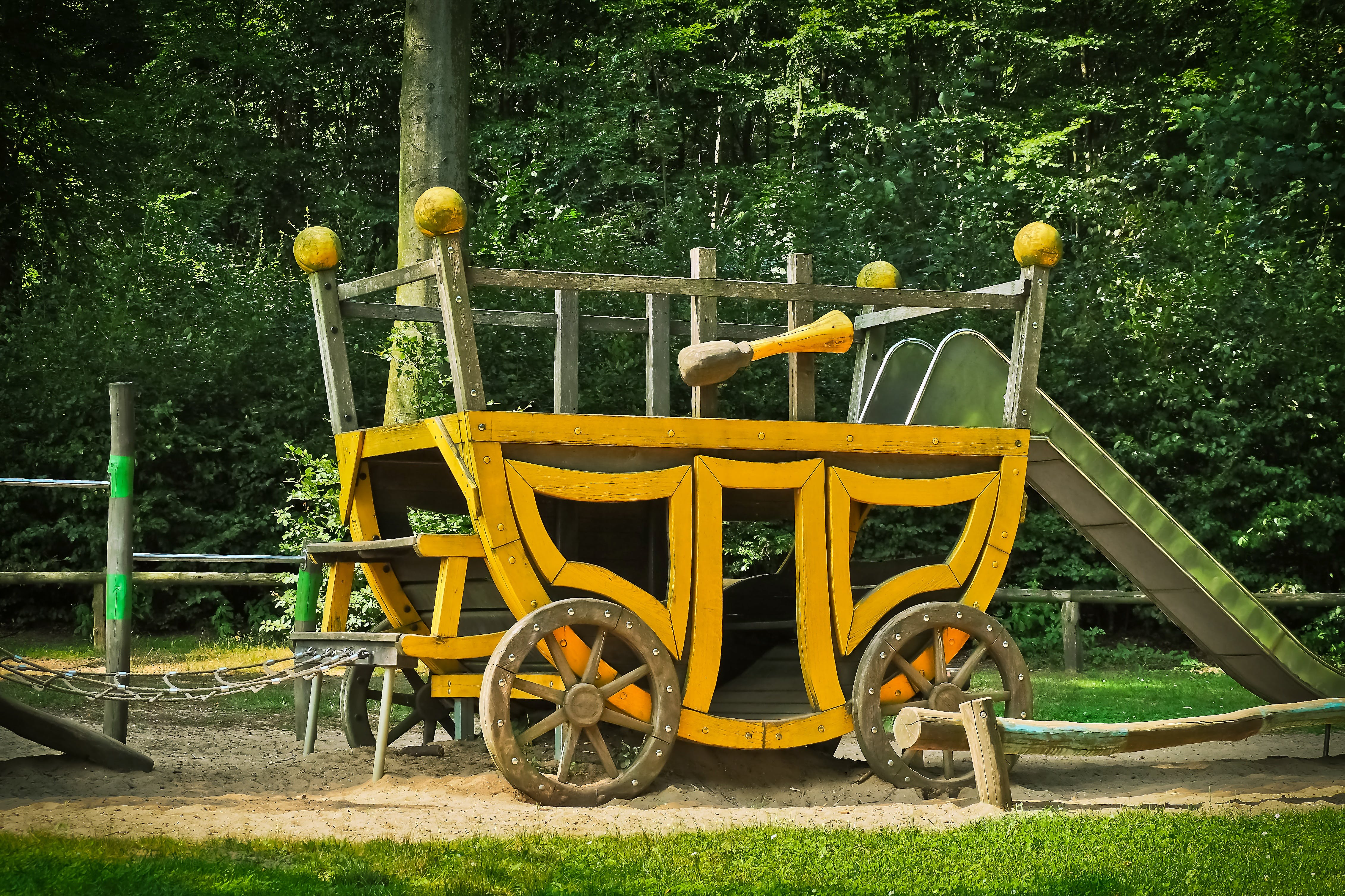 Yellow Carriage Near Trees