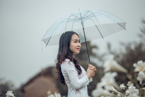 Photo of Woman in White Outfit Standing While Holding an Umbrella