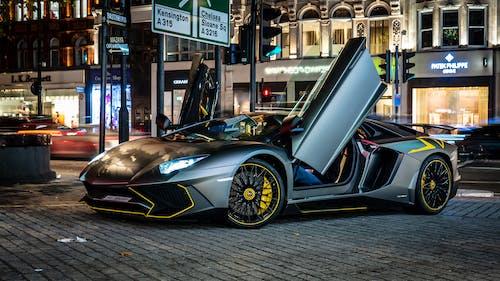 Free stock photo of Aventador, car, car lights, grey