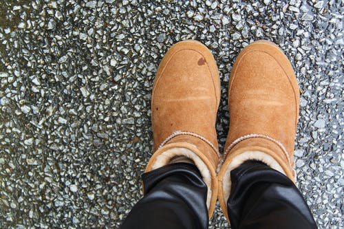 Person Wearing Brown Suede Mid-calf Snow Boots