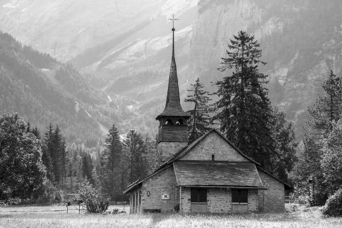 ağaçlar, dağ, kilise
