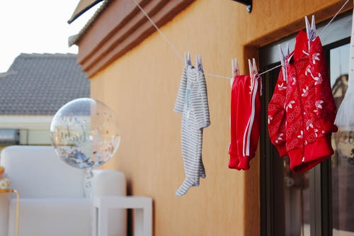 Clothes Hanged on String Outdoor