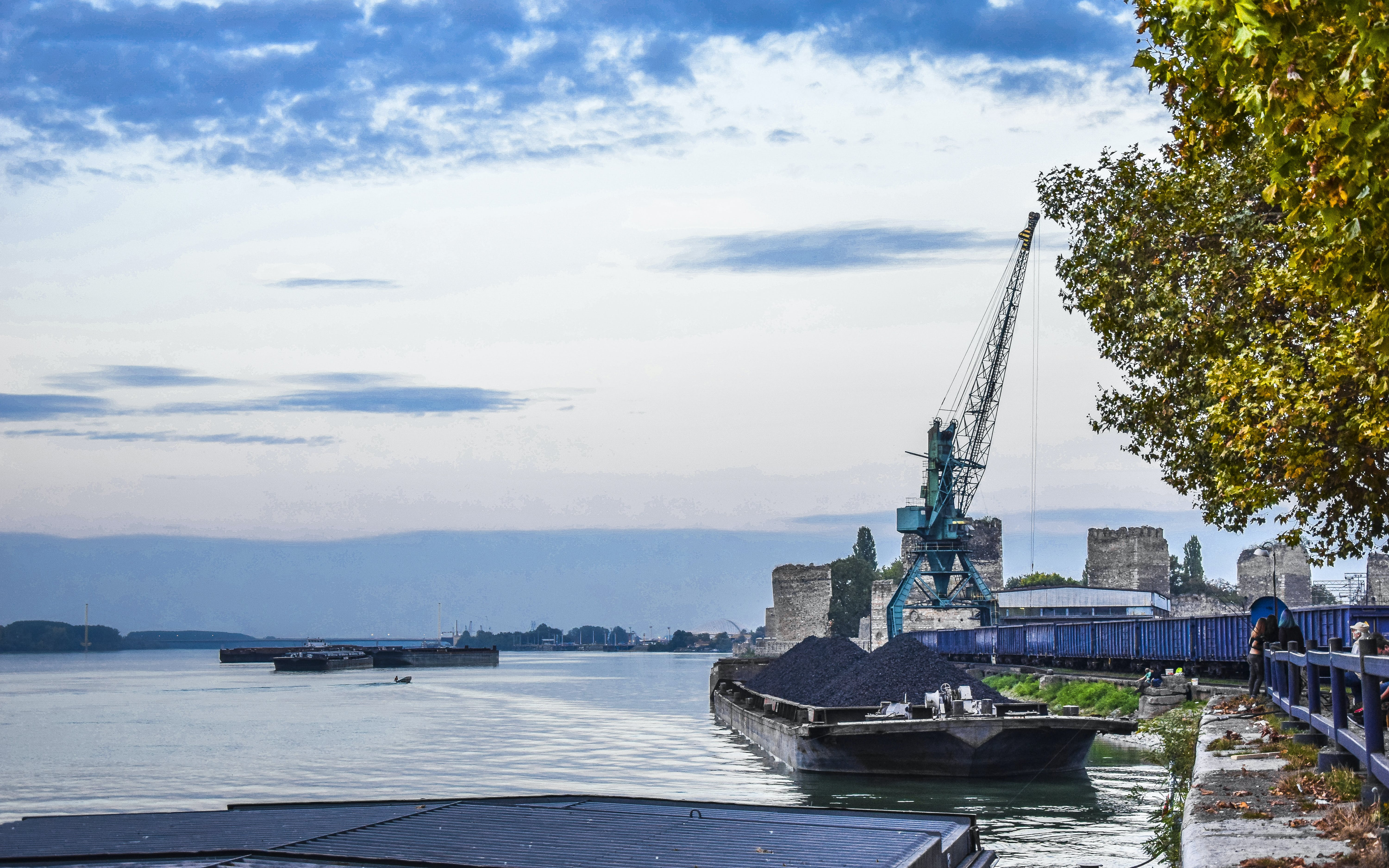 Free stock photo of clouds, crane, danube, fortress