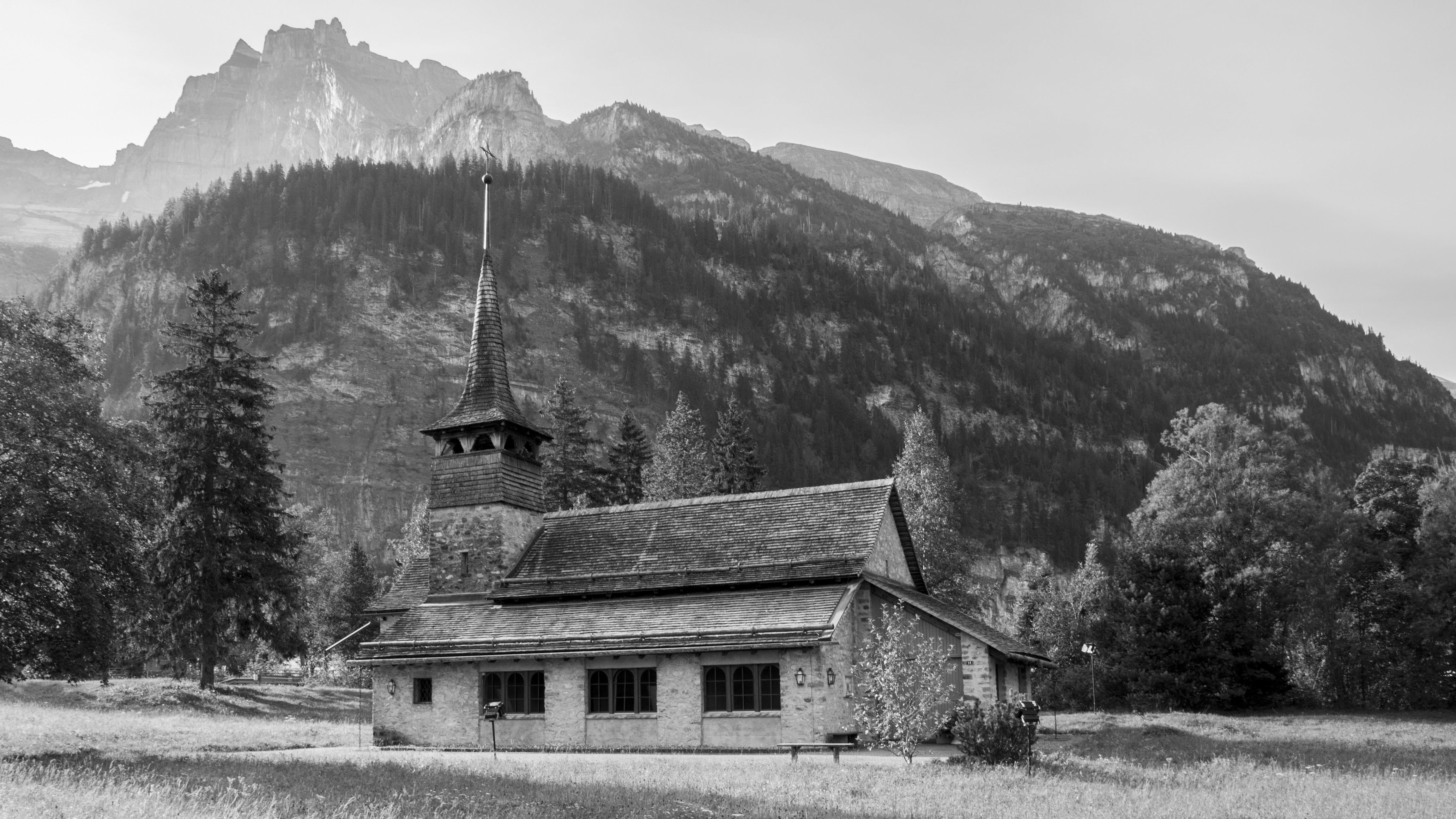 black-and-white, chapel, conifers