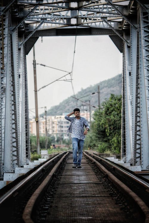 Man Walking on Bridge