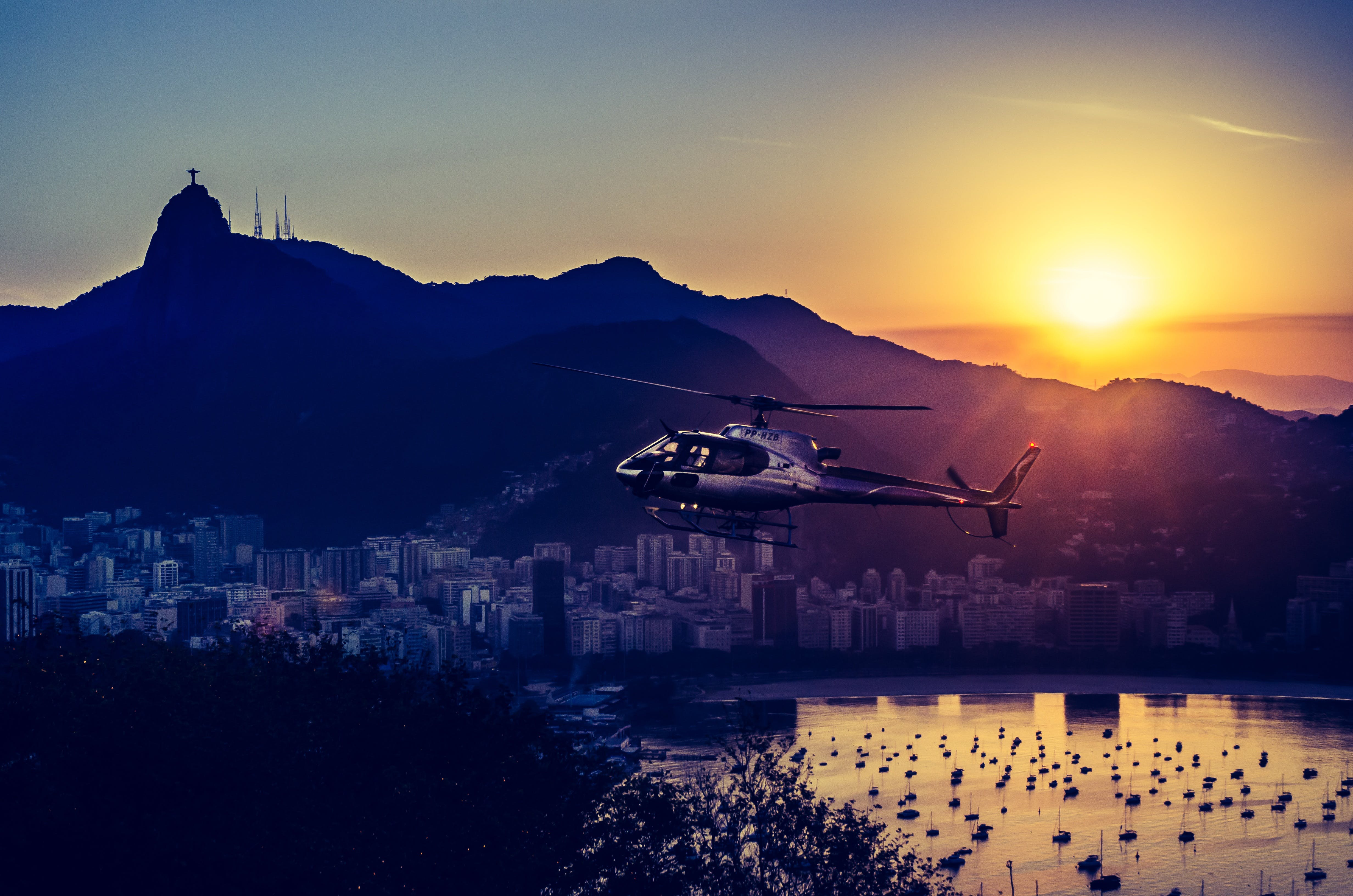 Aerial Photography of Helicopter during Twilight