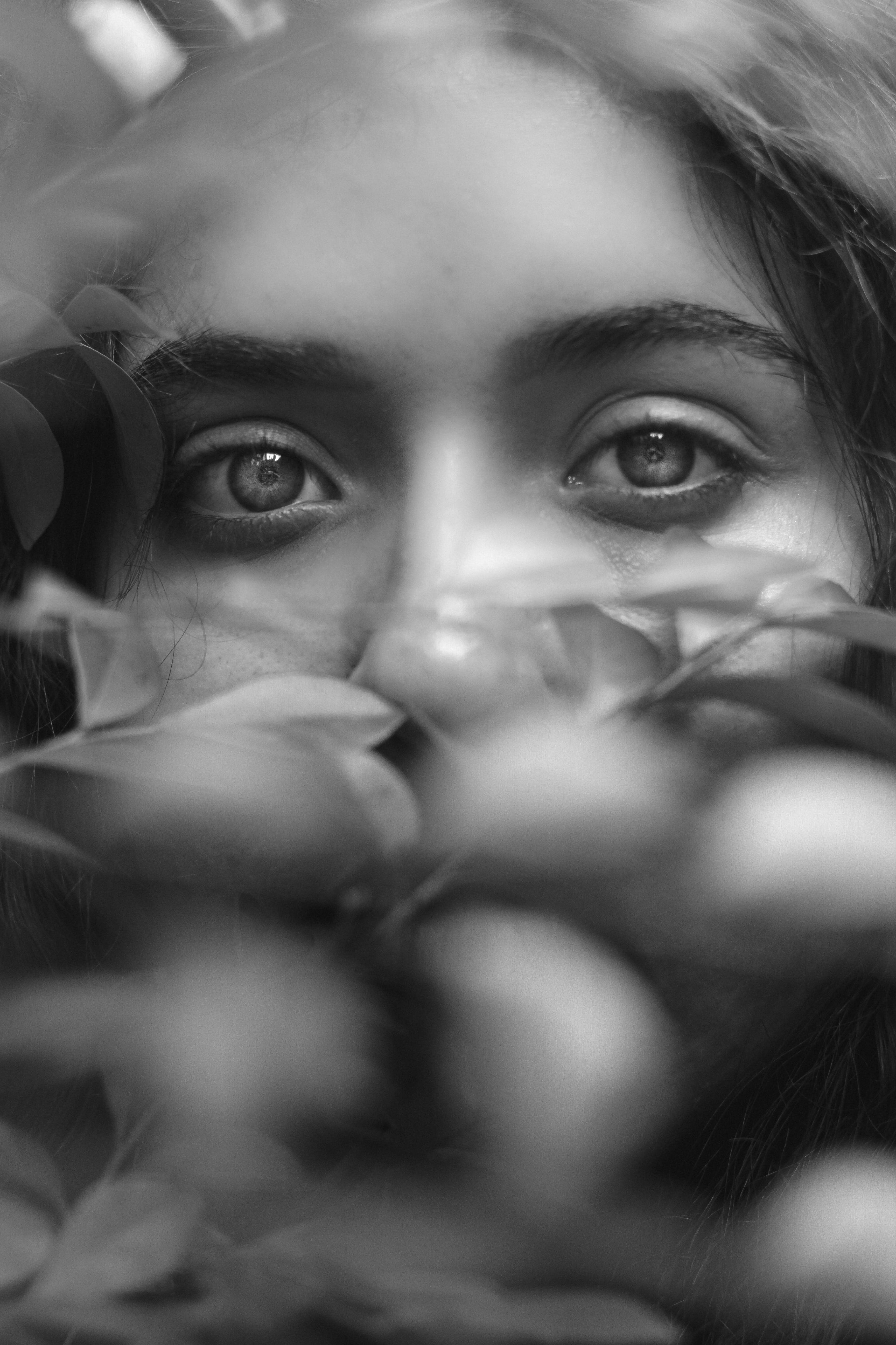 Monochrome Photo Of Girl's Eyes