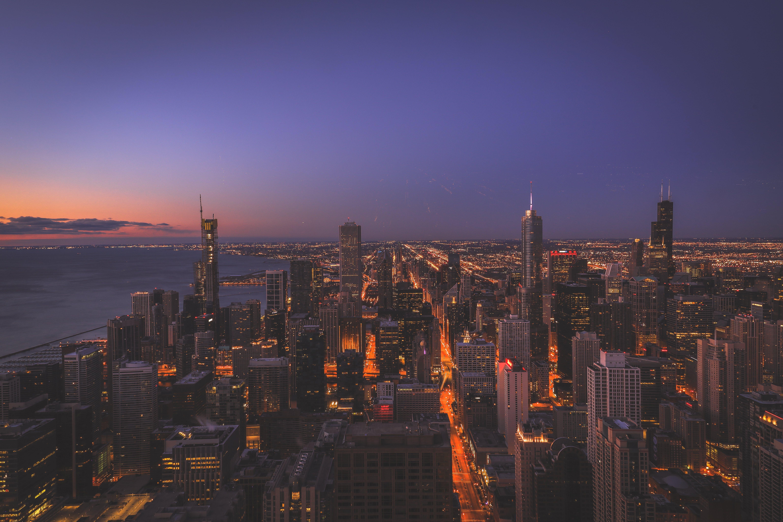 Ingyenes stockfotó belváros, Chicago, ég, éjszaka témában