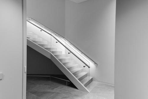 Monochrome Photography of Staircase