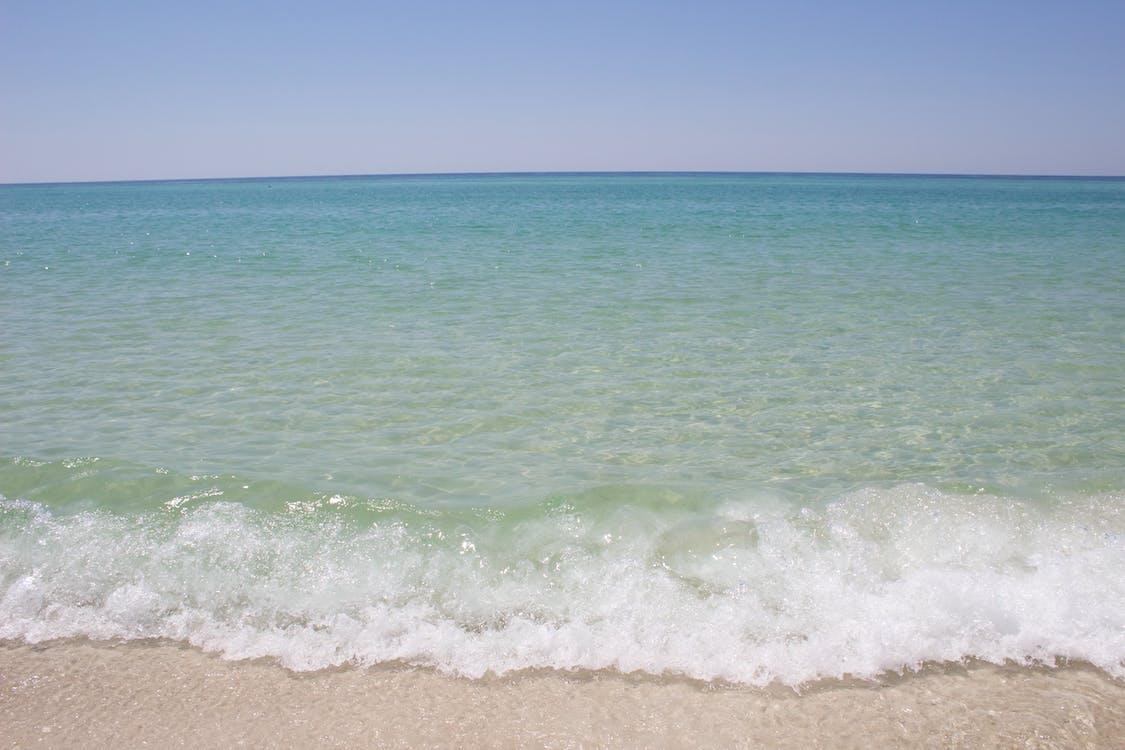 海灘, 破浪, 藍色的水