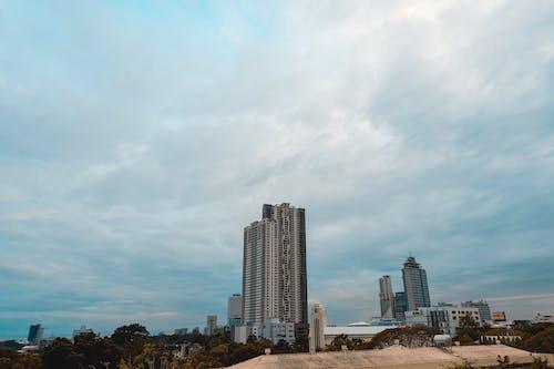 Foto d'estoc gratuïta de alt, cels blaus, cels ennuvolats, edifici