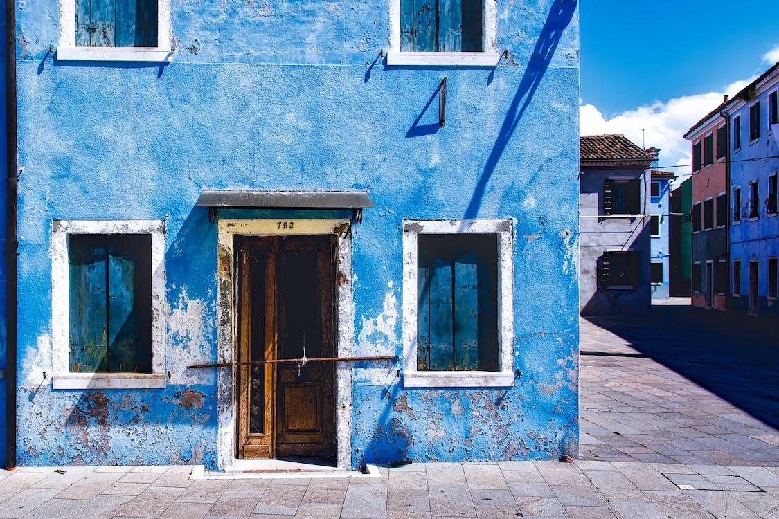 abandonado, arquitectura, azul