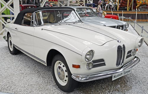 White Classic Car Beside White Silver Classic Car