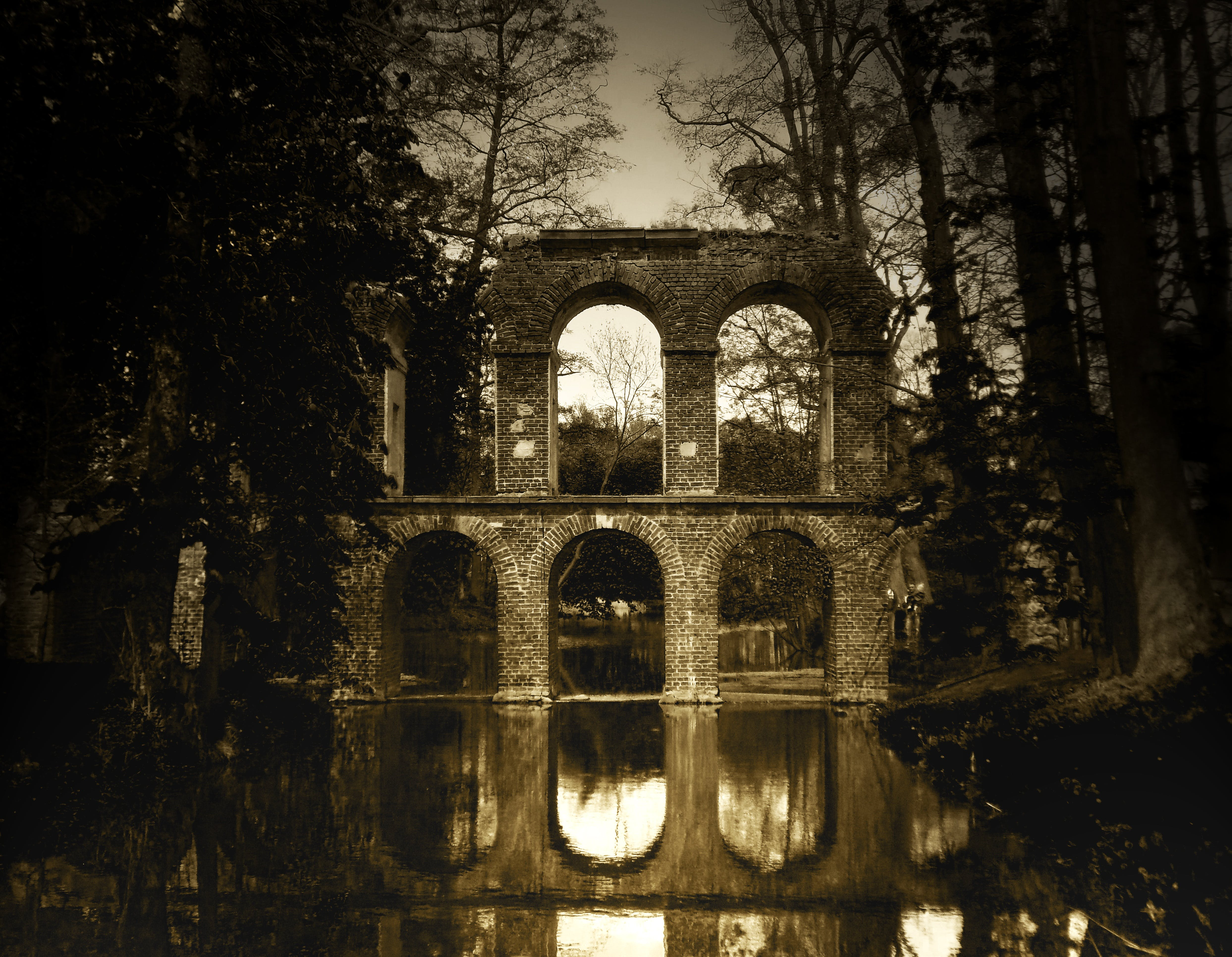 Ruined Viaduct Sepia Panoramic Photo