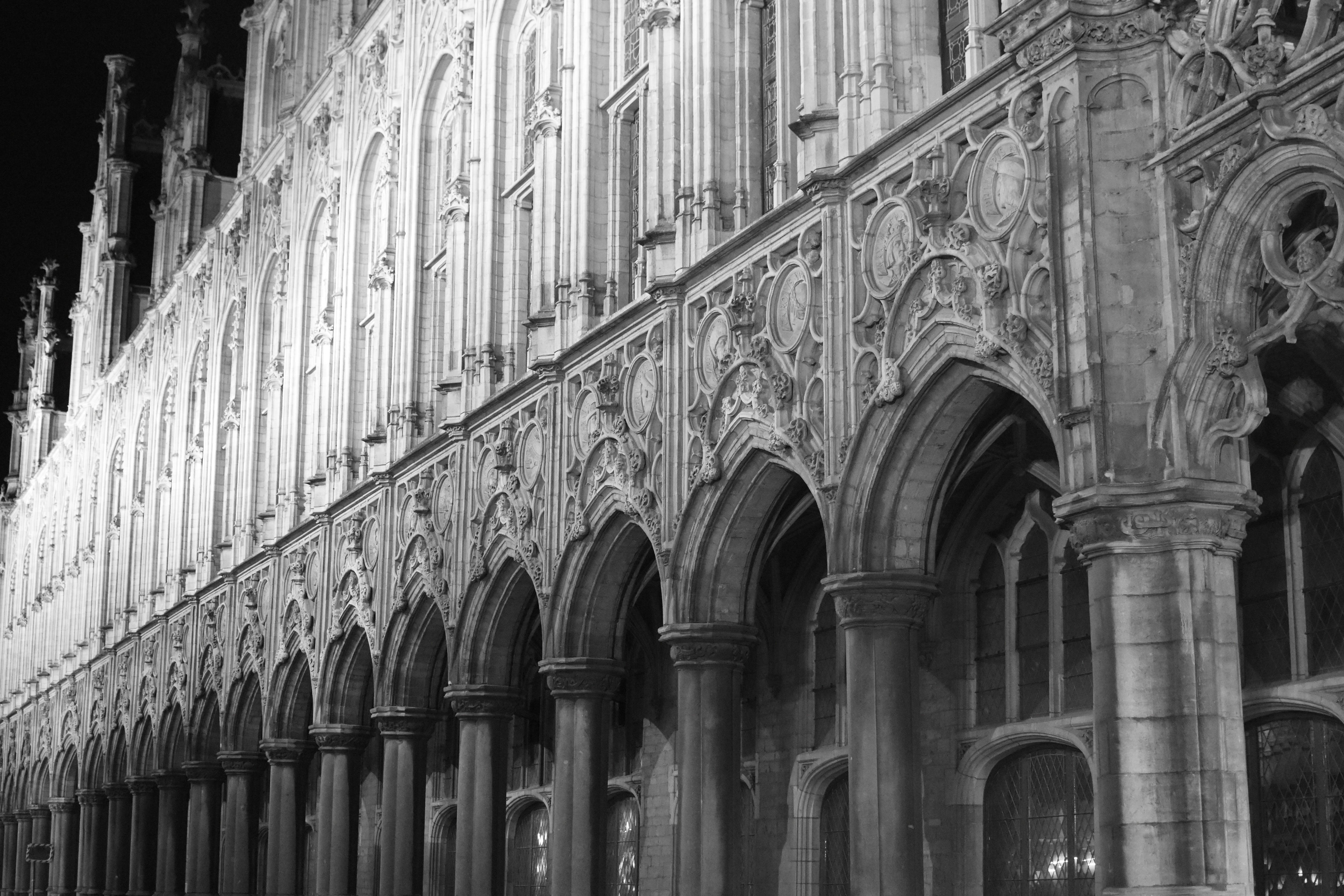 Grayscale Photo of Archways