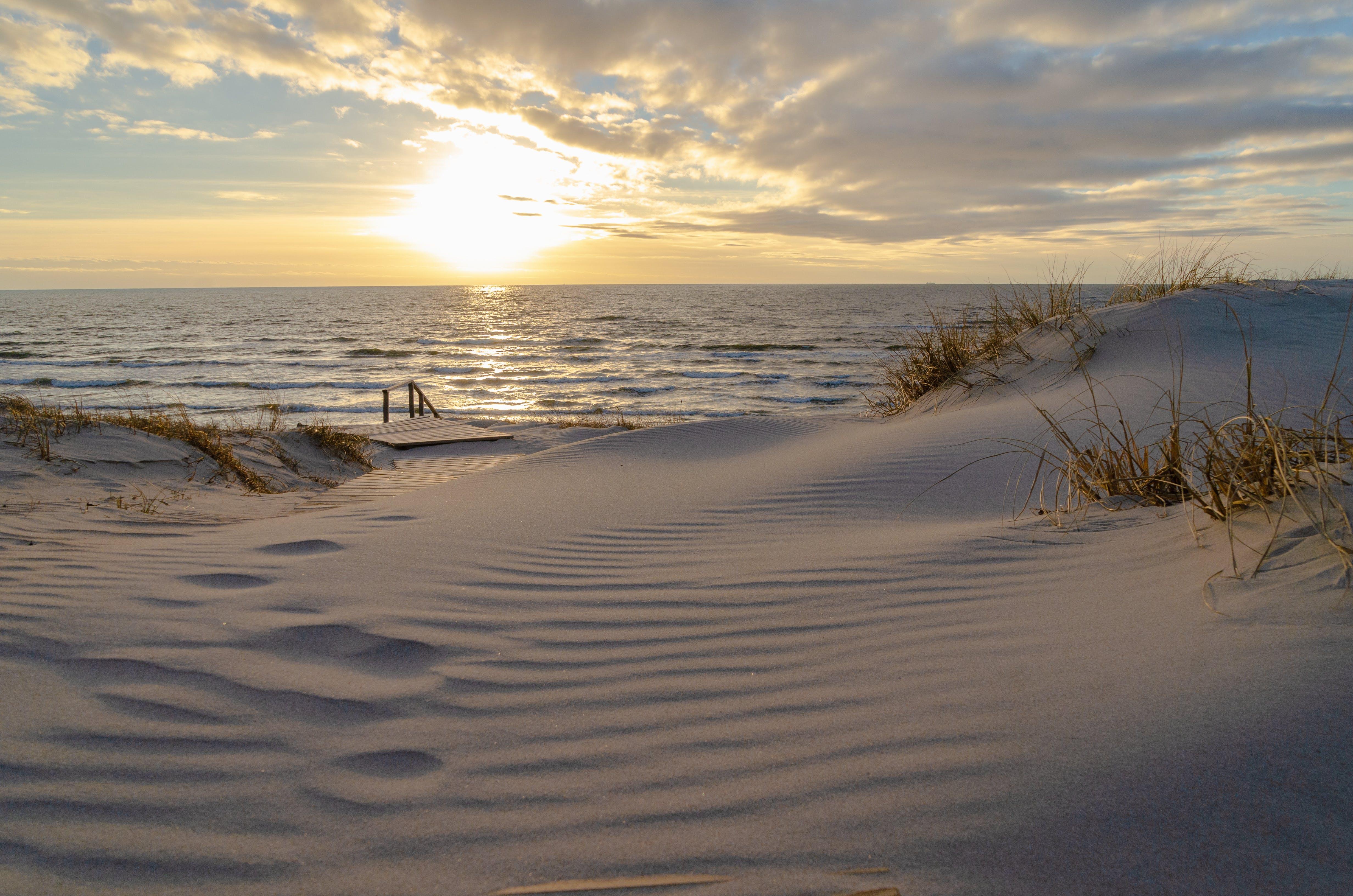 Free stock photo of Baltic Sea, beach, bridge, cluods